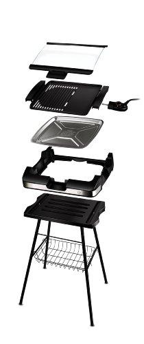 Kleiner Barbecue-Grill Elektro mit Standfuss und Glasplatte