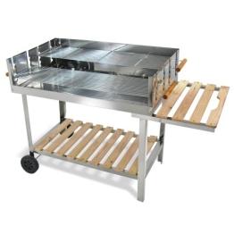 Edelstahl Barbecue Holzkohle Grill Grillwagen BBQ 136x60x93 XXL - 1