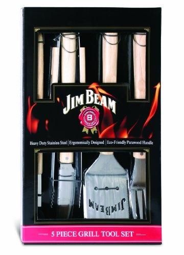Jim Beam Grillbesteck mit Holzgrifffläche im Geschenkset, 5 tlg. - 1