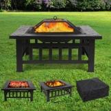 Femor Multifunktional Feuerstelle Outdoor 81x81x44cm BBQ Ice Schale 3 in 1 Garten Metall Quadratisch Feuerschale mit Regenschutzhülle -